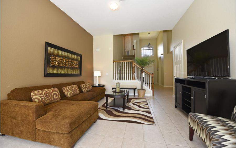 Living Room and Entry Hall - Mizzen Staysail - 5 Bedroom Kissimmee Area Private Pool Home - Homes4uu