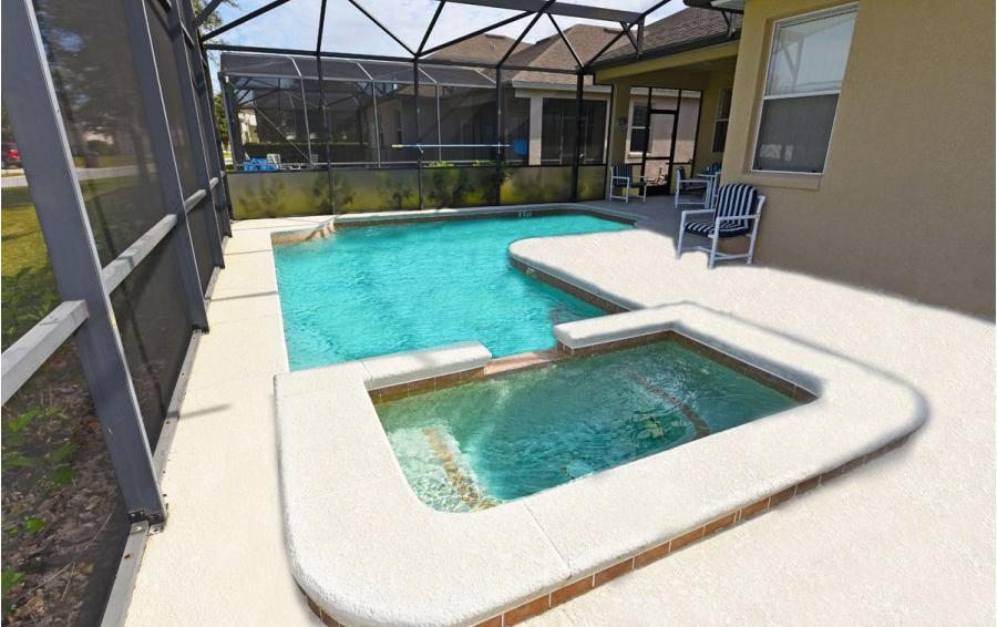 In Ground Pool and Spa - Cofferdam II - 6 Bedroom Disney World Area Vacation Home - Homes4uu