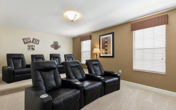 Theater Room - Downhaul 8 Bedroom Vacation Home Near Disney - Championsgate Home - Homes4uu