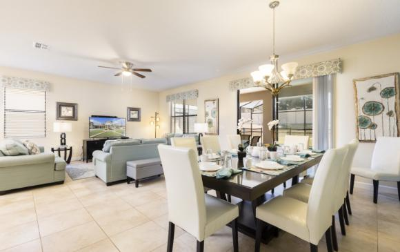 Great Room, Living and Dining Room - Downhaul 8 Bedroom Vacation Home Near Disney - Championsgate Home - Homes4uu