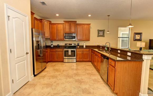 Downhaul 8 Bedroom Vacation Home Near Disney Kitchen with stainless steel appliances