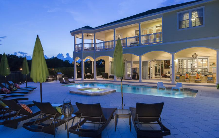 Pool Deck at Night - Reunion Retreat Admiral 7 Bedroom Luxury Reunion Disney Area Vacation Home - Homes4uu