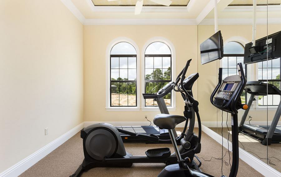 Gym with Eliptical, Treadmill, Bike - Flannel - 9 Bedroom Reunion Resort Vacation Mansion - Homes4uu