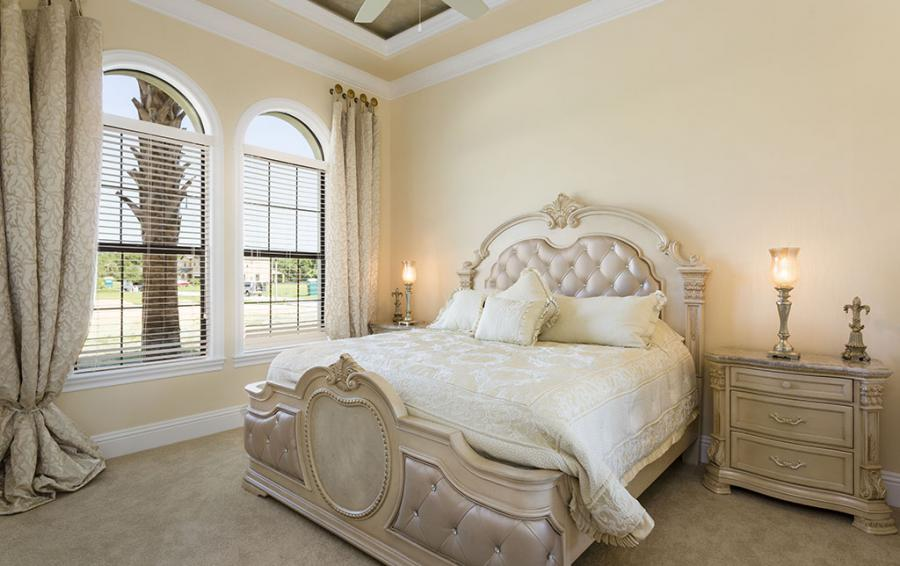 Master Bed 3- Luxery Bedding, Upolstered Headboard - Flannel - 9 Bedroom Reunion Resort Vacation Mansion - Homes4uu