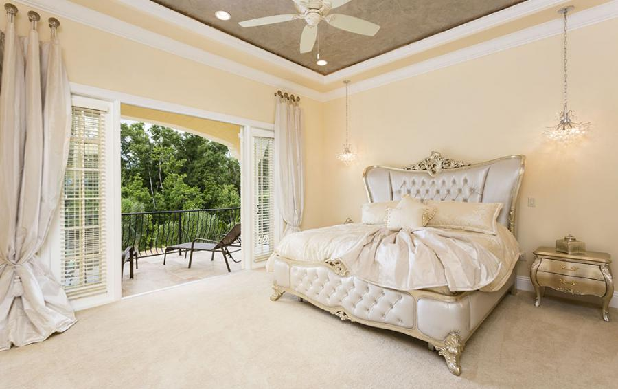Master Bed 5- Luxery Bedding, Upolstered Headboard - Flannel - 9 Bedroom Reunion Resort Vacation Mansion - Homes4uu