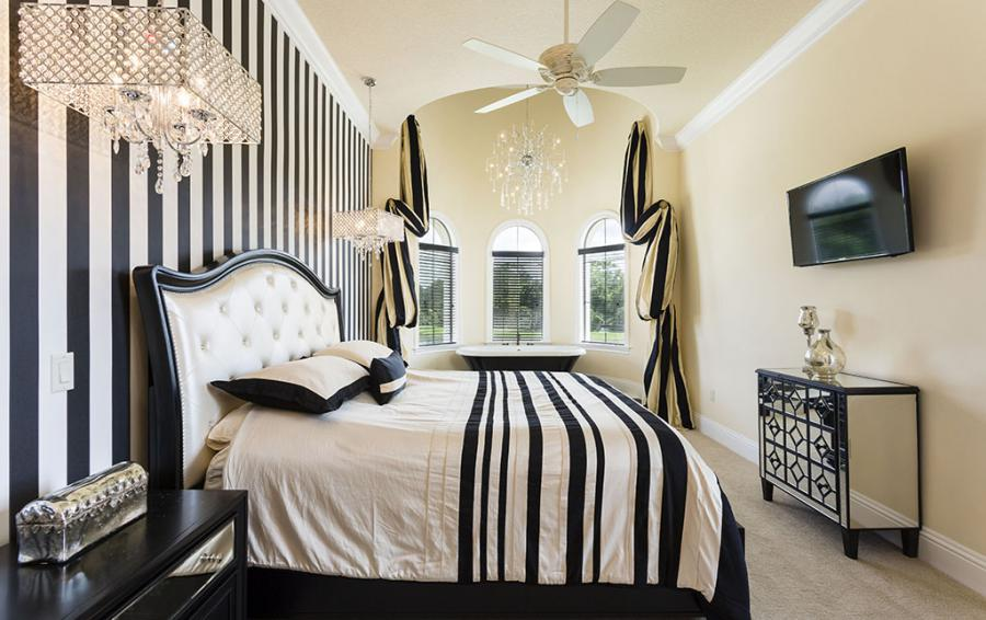 Master Bed 6- Luxery Bedding, Upolstered Headboard, Soaking Tub in room- Flannel - 9 Bedroom Reunion Resort Vacation Mansion - Homes4uu
