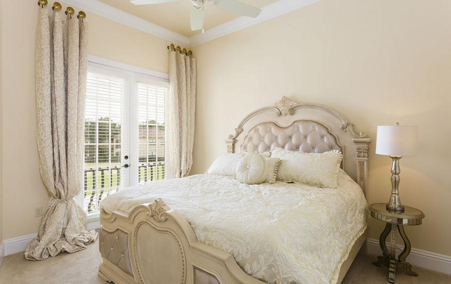 Master Bed 7- Luxery Bedding, Upolstered Headboard - Flannel - 9 Bedroom Reunion Resort Vacation Mansion - Homes4uu