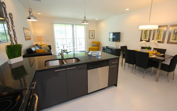 Kitchen Island and Dining Area - Swift Sails 3 Bedroom Modern Townhouse - Dream Resort - Homes4uu