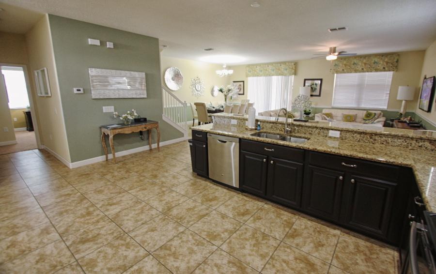 Open Floor Plan Kitchen Area - Celeste 9 Bedroom Orlando Vacation Home - Championsgate Resort - Homes4uu