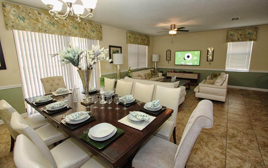 Great Room Dining Area - Celeste 9 Bedroom Orlando Vacation Home - Championsgate Resort - Homes4uu