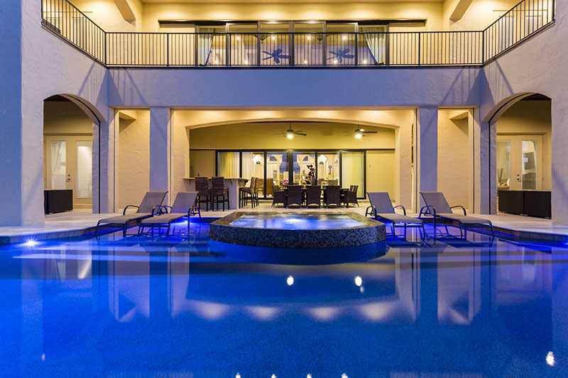 Pool at Twilight - Prince Royal - 11 Bedroom Vacation Home - Homes4uu