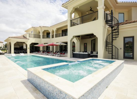 Pool- view of the rear of house ,spiral staircase - 12 Bedroom Vacation Home - MAURITANIA - Homes4uu