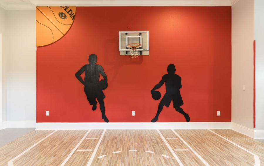 Basketball- Indoor Court in the Gym - Steam Boat Willie's Castle - 8 Bedroom Disney Themed Vacation Home - Homes4uu