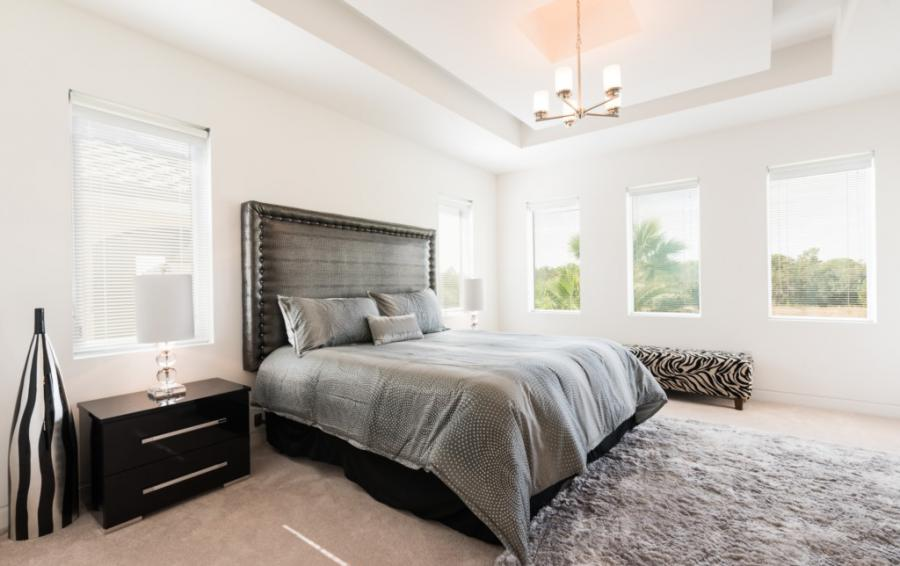 Bedroom - 1 -Master Suite King Sized Bed - On The Wind - 5 Bedroom Contemporary Luxury Orlando Area Vacation Home - Homes4uu