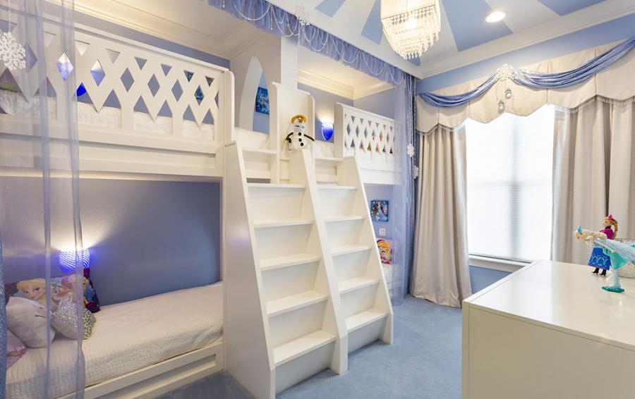 Bedroom - 7 -Frozen Themed Double Twin Bunk Beds - Sea Chest - 7 Bedroom Manor with Private Pool - Homes4uu