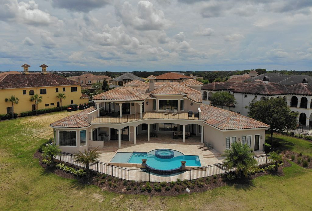 Drone View Rear of the Property - Swift Sailing - 6 Bedroom Custom Luxury Vacation Home - Homes4uu