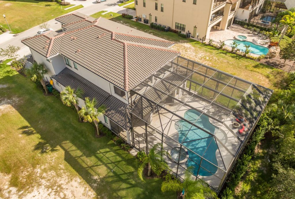 Drone View of the Pool- Sea Chest - 7 Bedroom Manor with Private Pool - Homes4uu