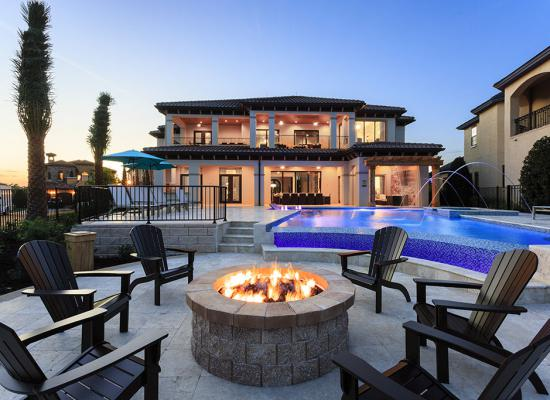Fire Pit at Twilight - Shore Leave - 8 Bedroom Kissimmee Vacation Home - Homes4uu