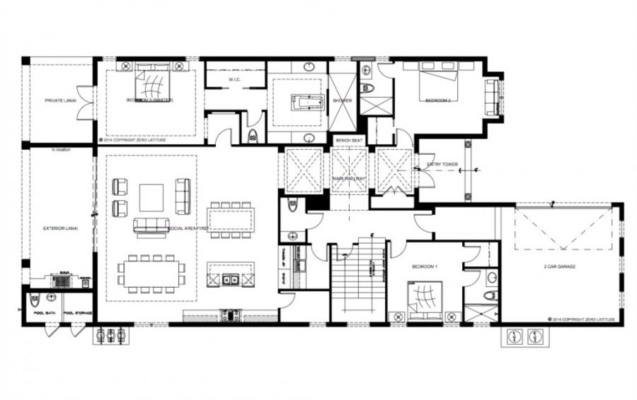 Floor Plan the First Floor- Sea Chest - 7 Bedroom Manor with Private Pool - Homes4uu
