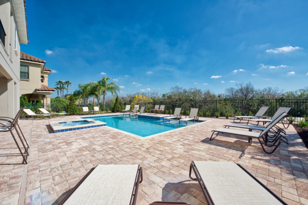 Pool Deck with Lounge Chairs - 13 Bedroom Luxury Resort Orlando Vacation Home - Homes4uu