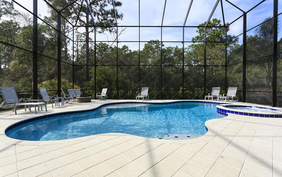 Pool Deck with Lounge Chairs- Sea Chest - 7 Bedroom Manor with Private Pool - Homes4uu