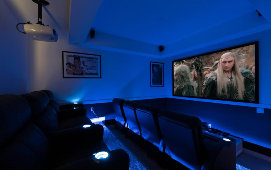 Theater Room Projection Screen - On The Wind - 5 Bedroom Contemporary Luxury Orlando Area Vacation Home - Homes4uu