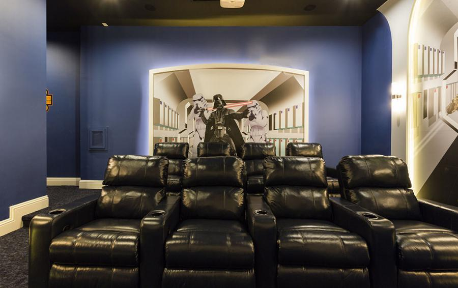 Theater Room with Leather Recliners- Sea Chest - 7 Bedroom Manor with Private Pool - Homes4uu