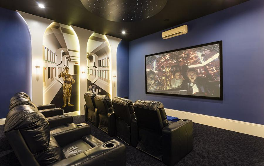 Theater Room with Projection Screen- Sea Chest - 7 Bedroom Manor with Private Pool - Homes4uu