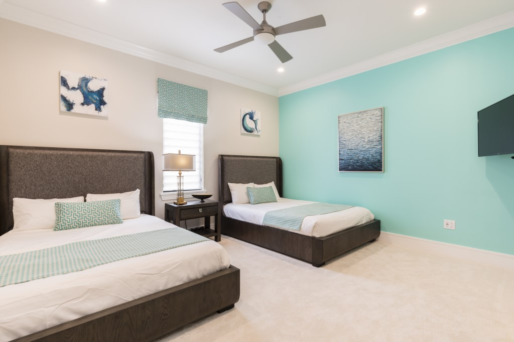 Bedroom 5 - Double Queen Size Beds- Captain's Chair - 9 Bedroom - Luxury Orlando Vacation Home - Homes4uu