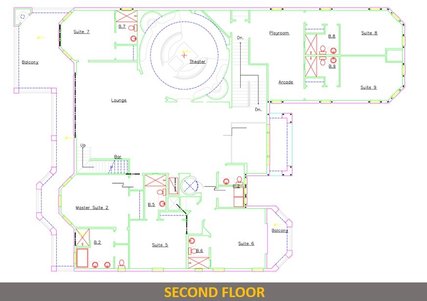 Floor Plan Second Story- Captain's Chair - 9 Bedroom - Luxury Orlando Vacation Home - Homes4uu