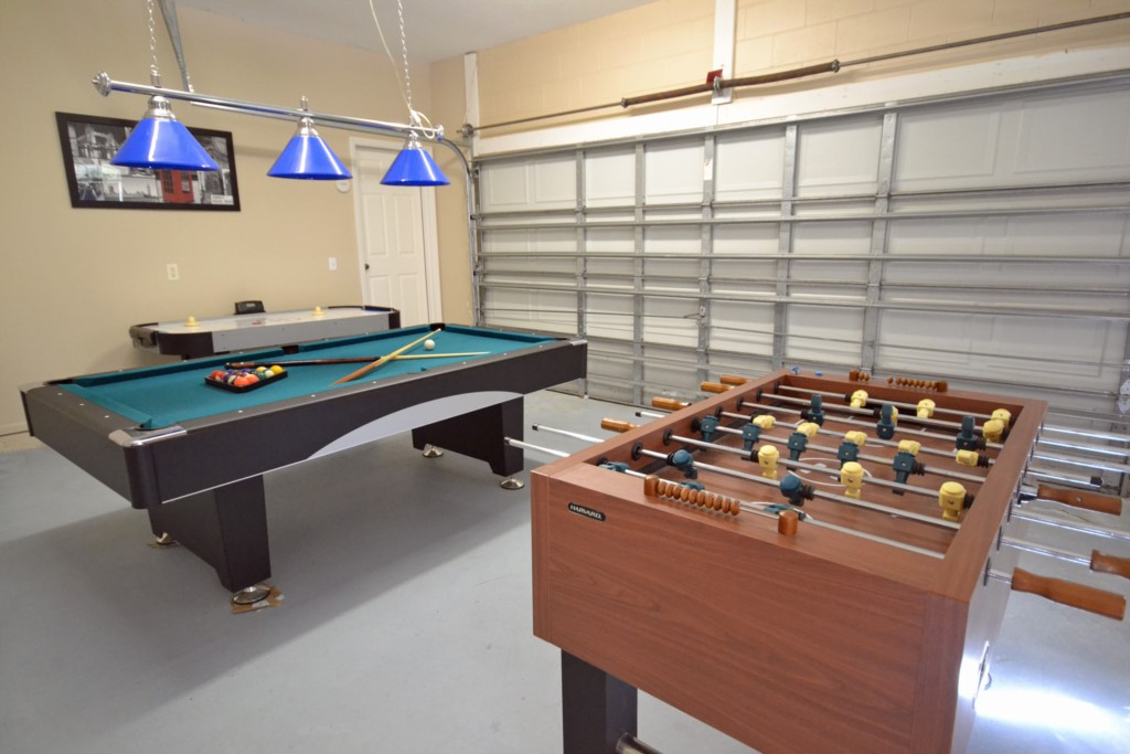 Game Room with Foosball, Pool table and Air Hockey - Lake View Villa - 5 Bedroom Disney Area Private Pool Vacation Home - Homes4uu