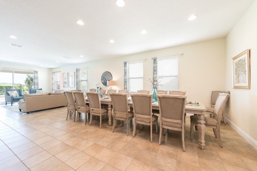 Dining Room and Second Living Area - Adriatic - 10 Bedroom Orlando Vacation Home - Homes4uu