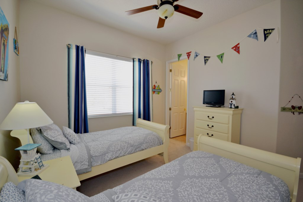 Bedroom 3 - Two Twin Sleigh Beds and TV - Reunion Retreat - 3 Bedroom - Disney Area Private Pool Villa - Homes4uu
