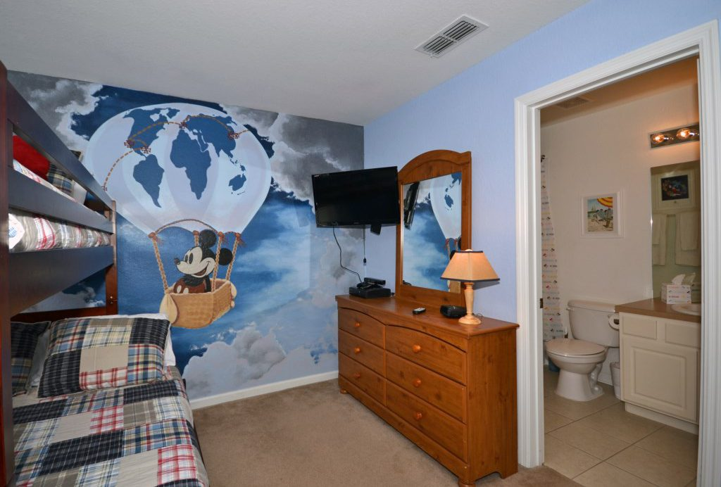 Bedroom 4 - Mickey Mouse Themed Twin Bunkbed - Chateau Soleil - 5 Bedroom - Disney Area Private Pool Home - Homes4uu