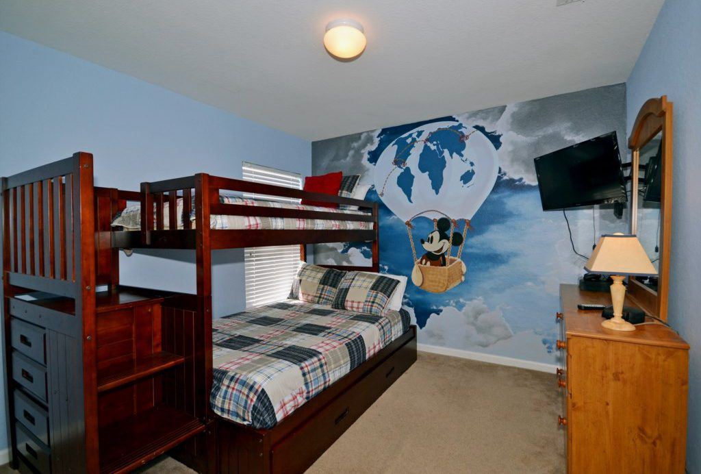 Bedroom 4 - Mickey Themed Twin Bunk Beds - Chateau Soleil - 5 Bedroom - Disney Area Private Pool Home - Homes4uu