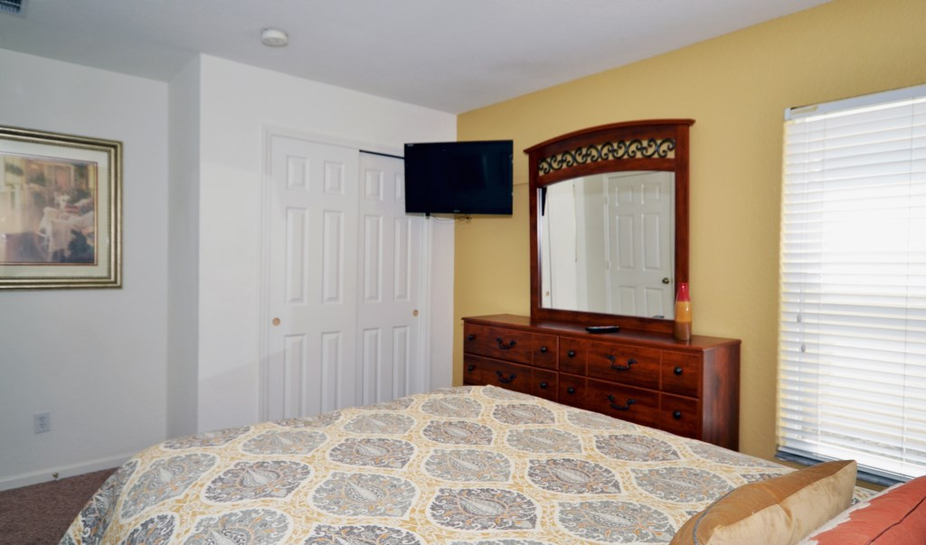 Bedroom 5 - Queen Bed with TV - Chateau Soleil - 5 Bedroom - Disney Area Private Pool Home - Homes4uu