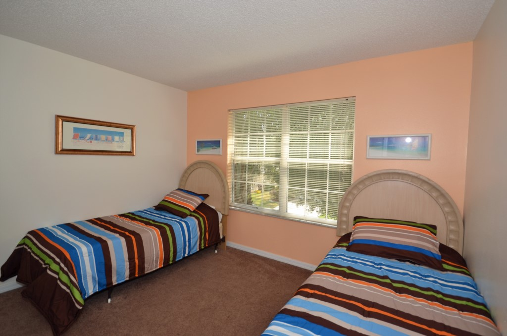 Bedroom - 5 - Two Twin Beds - St. Kitts - 6 Bedroom - Disney Area Family Vacation Home With Private Pool - Homes4uu