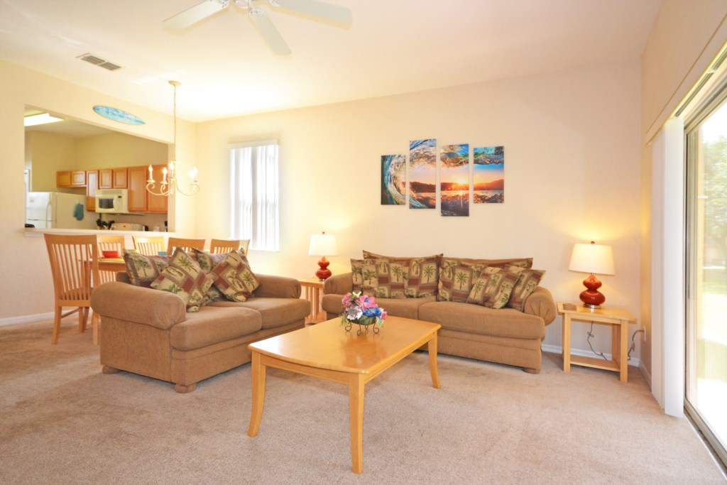Living Room Seating - Tequila Sunrise - 4 Bedroom Disney Area Vacation Home - Homes4uu