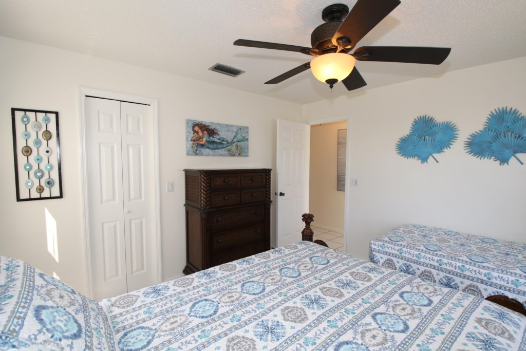 Bedroom - 2 - Two Twin Beds in blue bohemian bedding - Perrywinkle - 2 Bedroom Condo - Anna Maria Island Beach vacation Home - Homes4uu