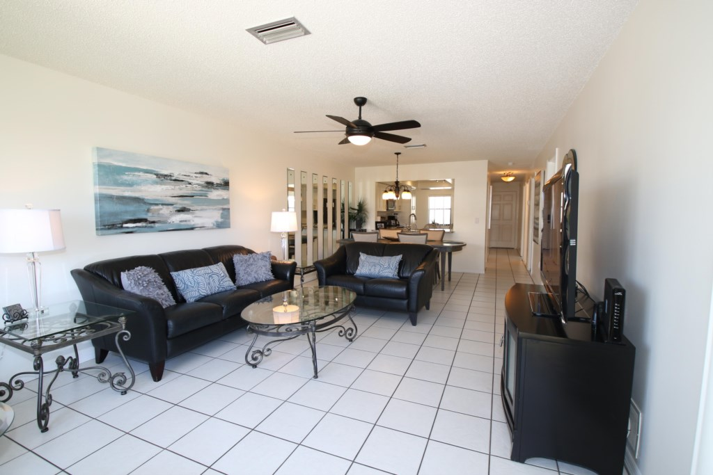 Long View of Living Room - Perrywinkle - 2 Bedroom Condo - Anna Maria Island Beach vacation Home - Homes4uu