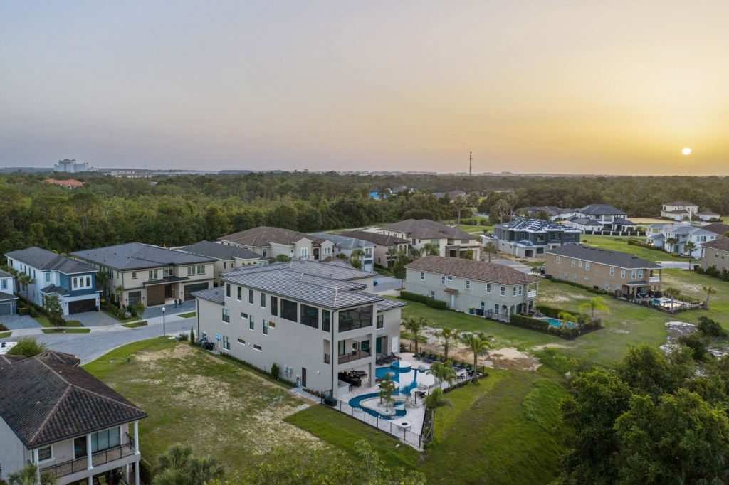 Drone View Of Back Of The House - Pirate's Utopia - 10 Bedroom Disnay Area Custom MansionVacation Home - Homes4uu