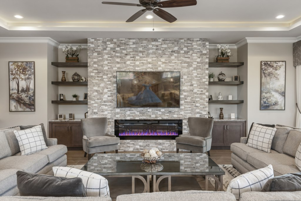 FirePlace Focal Point - Pirate's Utopia - 10 Bedroom Disnay Area Custom MansionVacation Home - Homes4uu