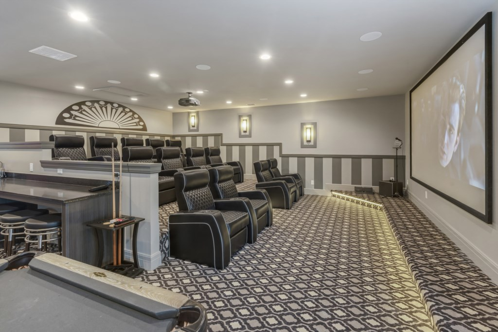 Home Theater - Pirate's Utopia - 10 Bedroom Disnay Area Custom MansionVacation Home - Homes4uu