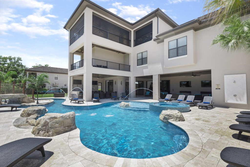 Pool View Of Rear Of House - Pirate's Utopia10 Bedroom Vacation Mansion- Homes4uu