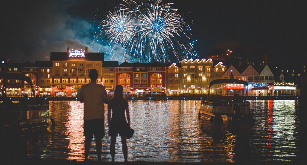 Fireworks over the boardwalk - Grown Up Trip to Orlando